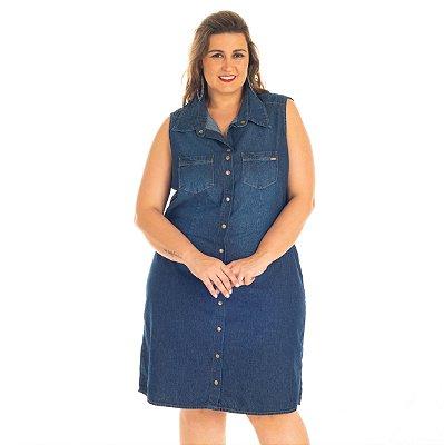 Vestido Jeans com detalhe nas Costas Stuhler Plus size