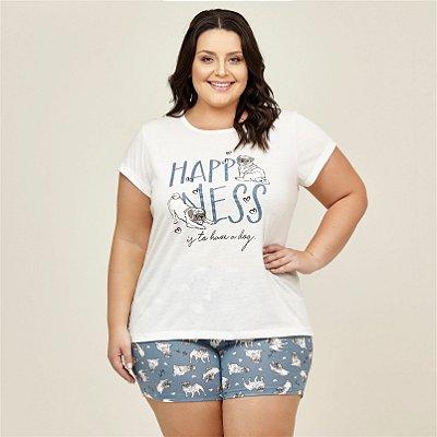 Pijama T-shirt com Estampa Danka Plus Size