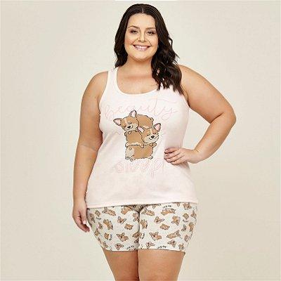 Pijama Regata com Estampa Danka Plus Size
