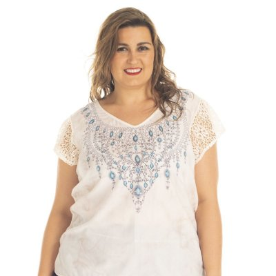 Blusa Viscolycra com Estampa e Renda e costas mais alongada Rovitex Plus Size