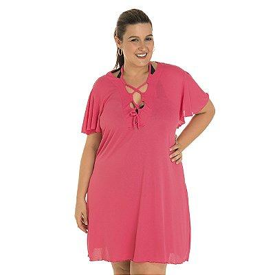 Vestido de Praia Rosa Acqua Cor de Rosa Plus Size