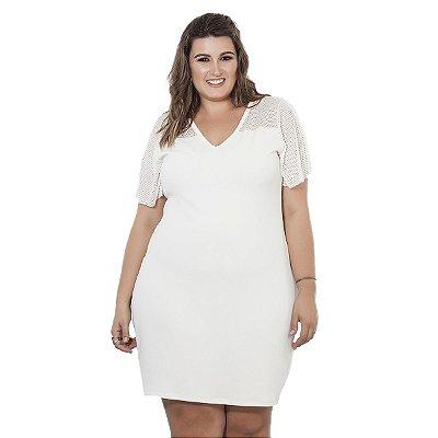 Vestido Branco Com Tela Nolita Plus Size