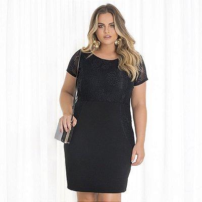 Vestido Com Detalhe em Renda Lisamour Plus Size