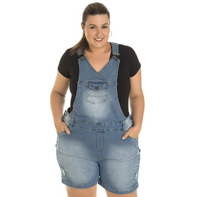 Jardineira Jeans com Elastano Stuhler Plus size