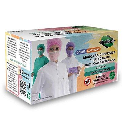 Máscara Cirúrgica Tripla Elástico Protdesc 50 Unidades Cores Sortidas