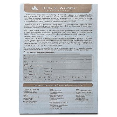 Ficha De Anamnese Para Micropigmentação 100 Folhas Dermomag