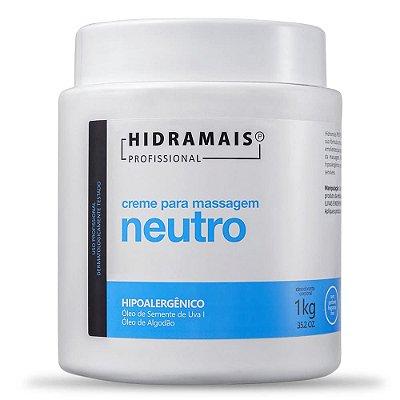 Creme Massagem Neutro Hipoalergênico Com Óleo de semente de Uva 1Kg Hidramais