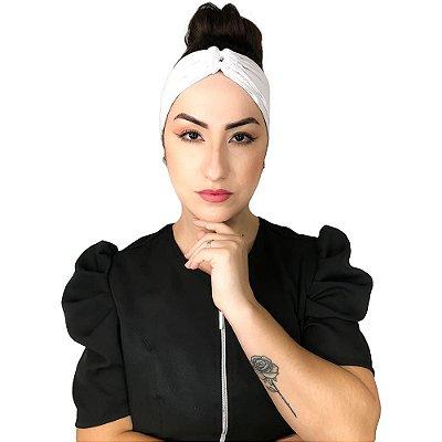 Turbante Feminino HeadBand Liso Vida De Micropigmentador Branco