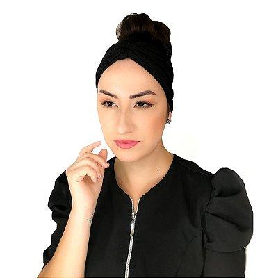 Turbante Feminino HeadBand Liso Vida De Micropigmentador Preto