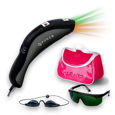 Aparelho Para Fototerapia Vitality LED Âmbar + Verde Ponce Preto Com Bolsa Rosa