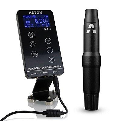 Kit Aston Pen Adapt Preto + Fonte Digital MA-1 Para Tatuagem