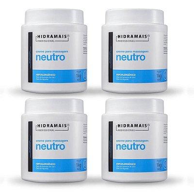 Kit 4 Cremes Massageadores Neutro Para Massagem Hipoalergênico 1 Kg Hidramais