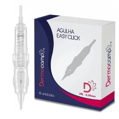 Agulhas Dermocamp Easy Click C/Mola 3RL Ponta 0.30mm - Caixa Com 10 Unidades