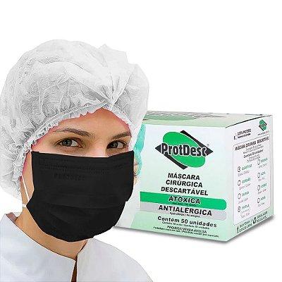 Mascara Descartavel Protdesc Preto Caixa Com 50 Unidades