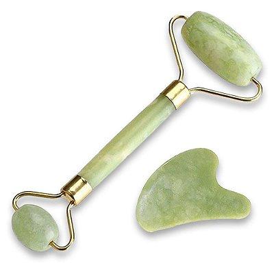 Rolo Massageador Facial Pedra Jade Verde + Guasha Coracao Smart Gr