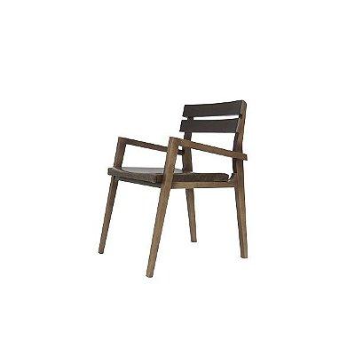 Cadeira Dico - Braço  e Couro Avelã