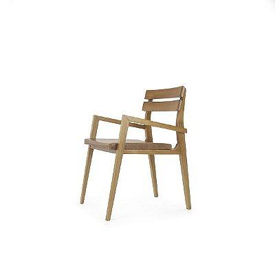 Cadeira Dico - Braço  e Couro Camel
