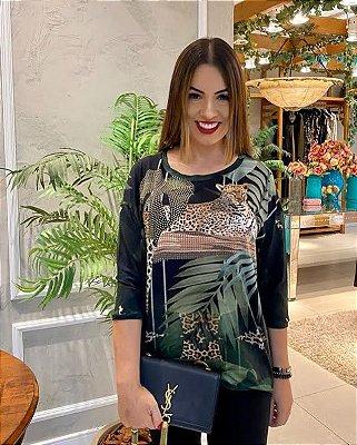 Anemess - Blusa ampla Onça pintada com folhagem - TAMANHO ÚNICO - VESTE DO P AO GG  Ref: