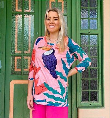 Anemess - Blusa ampla Tucano fundo rosa - TAMANHO ÚNICO - VESTE DO P AO GG  Ref: 91217