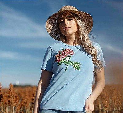 Anemess - TShirt   azul com bordado     - tamanho  G