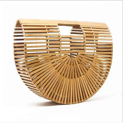 Bolsa de bambu vazado cor natural _  TAMANHO MEDIO