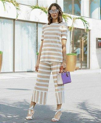 Blessed _ conjunto blusa e calça pantacourt listrado_ tamanho M     /140233