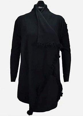 URBAN STYLE | Casaco Tricot Detalhe Pompom Black -  Código: 14347