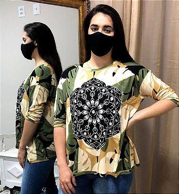 Anemess - blusa ampla Mandala Folhas Geométrica  - TAMANHO UNICO -  VESTE DO P AO GG / ref: 90931