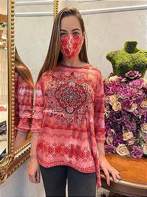 Anemess - Blusa ampla Mandala Vermelha  / acompanha máscara /  TAMANHO ÚNICO - VESTE DO P AO GG  Ref: