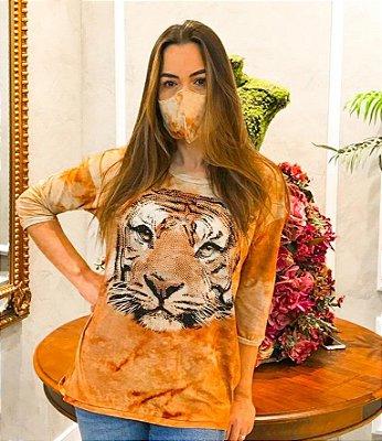 Anemess - Blusa ampla Tigre fundo Ferrugem / acompanha máscara /  TAMANHO ÚNICO - VESTE DO P AO GG  Ref: