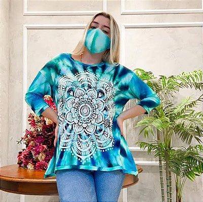 Anemess - Blusa ampla TieDye Azul Mandala / acompanha máscara /  TAMANHO ÚNICO - VESTE DO P AO GG  Ref: 91017
