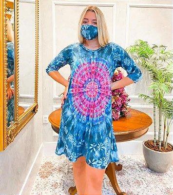 Anemess - VestidoTieDye Azul com Pink / acompanha máscara /  TAMANHO ÚNICO - VESTE DO P AO G  Ref: