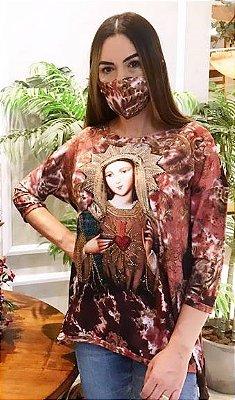 Anemess - Blusa ampla Sagrado Coração de Maria  / acompanha máscara /  TAMANHO ÚNICO - VESTE DO P AO GG  Ref:  91037