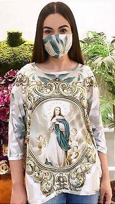 Anemess - Blusa ampla Nossa Senhora da Conceição  / acompanha máscara /  TAMANHO ÚNICO - VESTE DO P AO GG  Ref: 91032