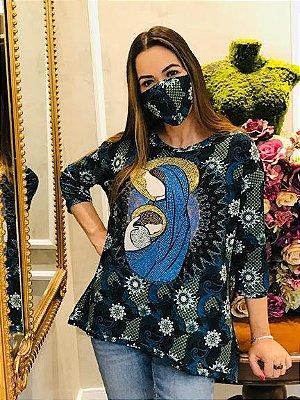 Anemess - Blusa ampla Maria / acompanha máscara /  TAMANHO ÚNICO - VESTE DO P AO GG  / ref: 91058