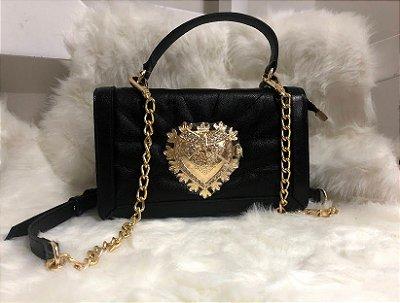 Bolsa de Couro Preta  inspiration  Dolce & Gabbana - 100% couro / Feita no Brasil