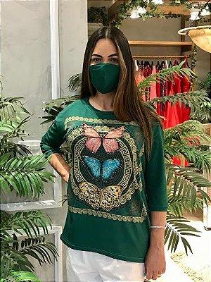 Anemess - Blusa ampla Verde Borboletas  / acompanha máscara /  TAMANHO ÚNICO - VESTE DO P AO GG  Ref: 91050