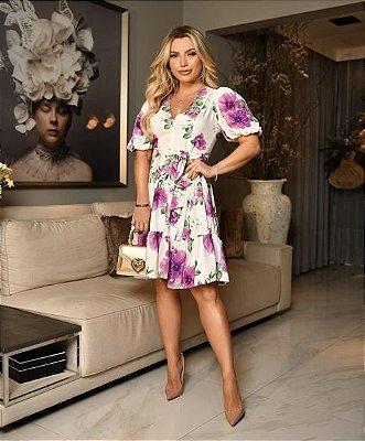 Closet Deluxe _ Vestido Floral curto babado com faixa na cintura  ref:2020-419