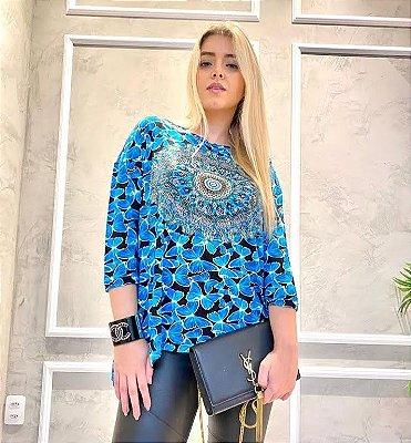 Anemess - Blusa ampla Borboletas com mandala azul   - TAMANHO ÚNICO - VESTE DO P AO GG  Ref: