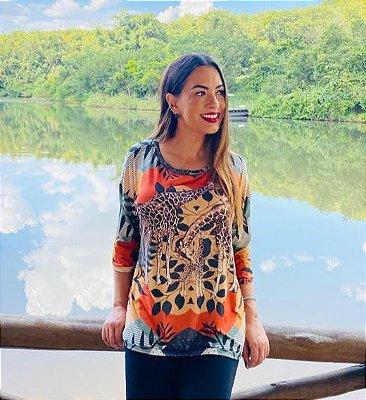 Anemess - Blusa ampla Girafas  - TAMANHO ÚNICO - VESTE DO P AO GG  Ref: