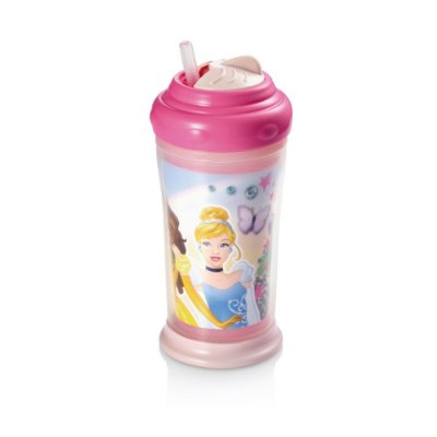 Copo Térmico com Canudo de Silicone Princesas Infantil Multikids Rosa