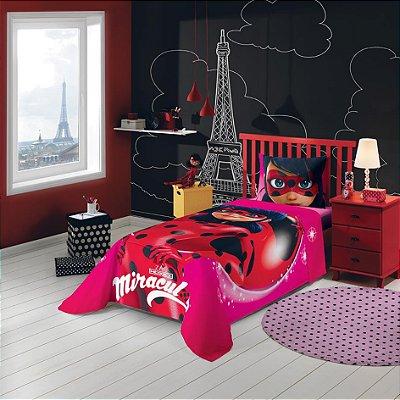 Jogo de Cama Solteiro Estampado Ladybug 1,50 m x 2,10 m Com 3 peças