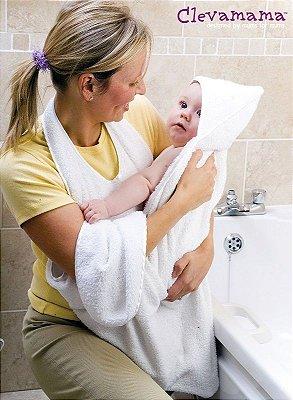 Toalha para Banho Mamãe e Bebê Branca Clevamama