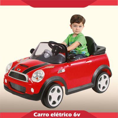 Mini Carrinho Elétrico 6V Mini Cooper Vermelho