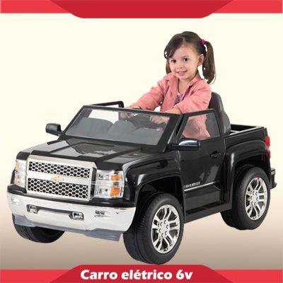 Mini Carrinho Elétrico 6V Silverado Preta