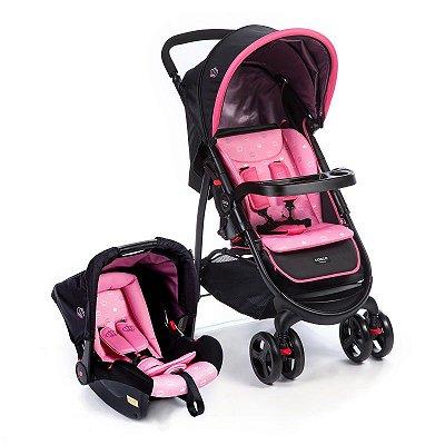 Carrinho de Bebe com Bebe Conforto Travel System Nexus Cosco Rosa