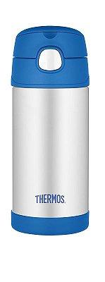 Garrafinha térmica Funtainer Azul e Inox Thermos Foogo 335 ml