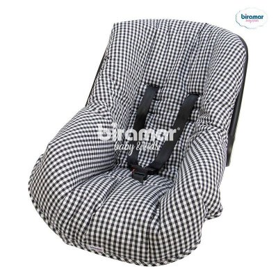 Capa para Bebê Conforto Ajustável Xadrez Preto