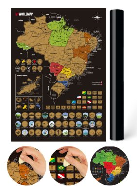 Mapa Raspadinha do Brasil com Cidades e Bandeiras - Dourado - Mapa Raspar Viagens Brasil - 42x30