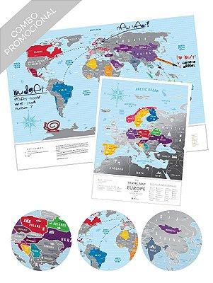 Combo - Mapa de Raspadinha Blue e Mapa de Raspadinha da Europa